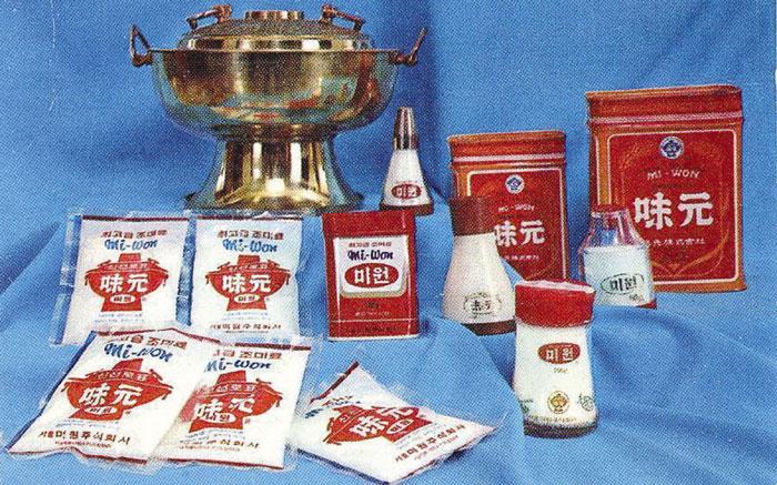1960년대 선보인 미원 제품. 왕의 음식상에 오르는 신선로를 본뜬 미원의 상표는 현재까지도 미원의 대표적인 이미지이다.