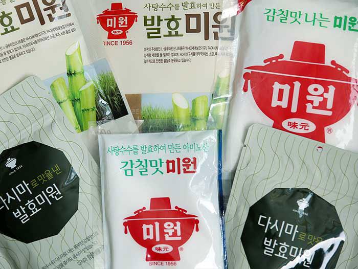 미원은 현재 사탕수수로 만든 발효미원과 다시마 함량이 높은 발효미원도 출시되어 있다.